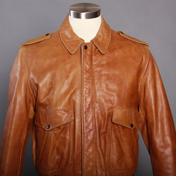 80s SCHOTT Leather BOMBER JACKET / 1980s Golden Brown Style 674 A-2 Flight Jacket