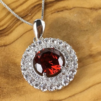 Garnet White Sapphire Round Double Halo Sterling Silver Pendant Necklace
