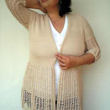Natural Beige Lace Cardigan Hand Knit  Open Sweater Woman Trendy Cardigan Fall Woman Spring/Summer NEW