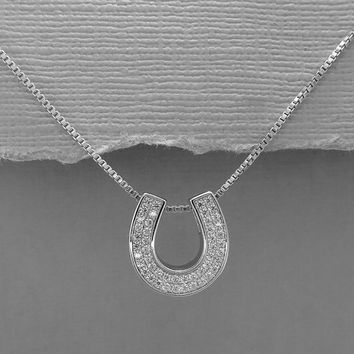 Horse Shoe Necklace, Sterling Silver and CZ Horse Shoe Necklace, Sterling Silver Horse Shoe Pendant, Good Luck Charm Necklace, Gift for Her