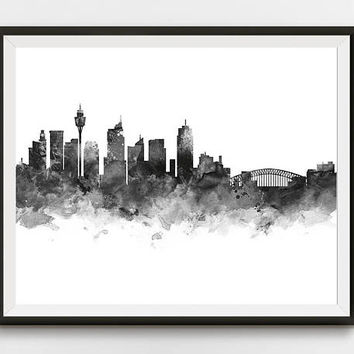 Sydney Print, Sydney Skyline, Watercolor, Poster, Cityscape, Oceania, Opera House, Wall Art, Printable Sydney Decor Gift Digital Download