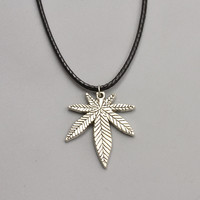 Marijuana Leaf Pendant Gothic Necklace