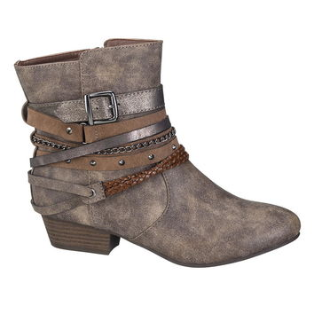 halo strappy bootie in gray