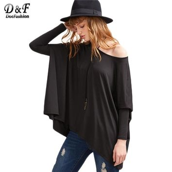Dotfashion Black Boat Neck Oversized Dolman Sleeve Tops Women Long Sleeve Tees Basic Solid Loose T-shirt