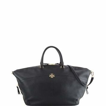 Tory Burch Ivy Slouchy Leather Satchel Bag, Black