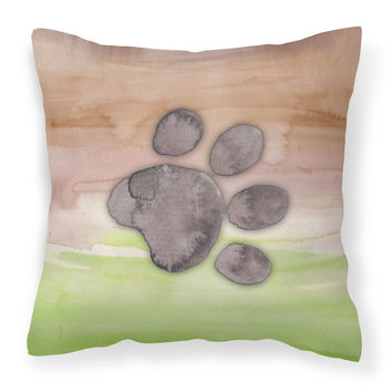 Dog Paw Watercolor Fabric Decorative Pillow BB7359PW1414
