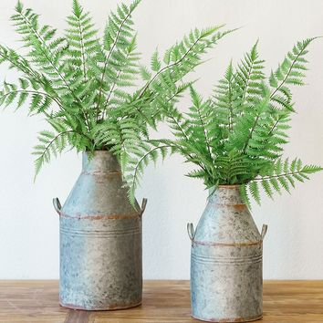 """Set of 2 Galvanized Metal Milk Can Containers - 13.75-17"""" Tall x 6.5-8.75"""" Wide"""