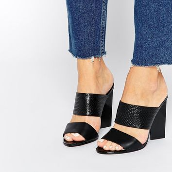 Faith Dwight Black Mule Heeled Sandals