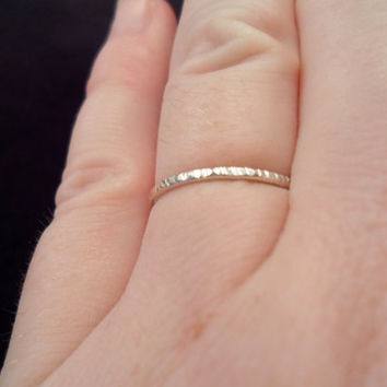 Sterling Silver 925 Knuckle - Stacking Ring, Regular Ring OR toe ring. Hammered. Childrens, Womens, Mens Pick Your Size!