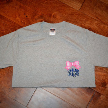 Bow Monogram Pocket Tee Shirt - LONG SLEEVE