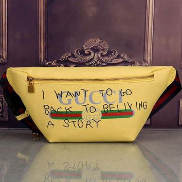 Gucci Women Trending Fashion Leather Purse Waist Bag Single-Shoulder Bag Crossbody Yellow G