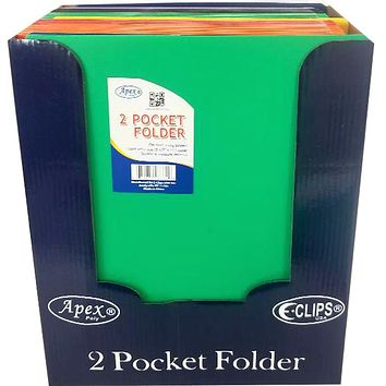 "Premium Plastic 2 Pocket Folders - 9.5"" x 11.5"" - CASE OF 48"