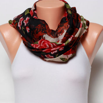 spring Scarf Shawl Floral scarf summer scarf gift Ideas for women red scarf fashion scarves Holiday womens scarves fashion accessories