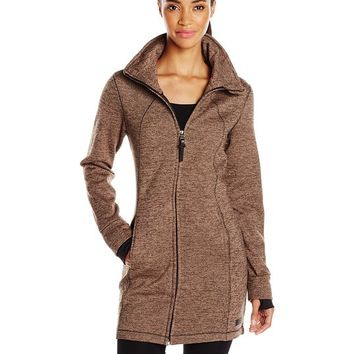 Calvin Klein Performance Women's Hooded Sweater Knit Walker Coat, Toffee/Black, X-Small