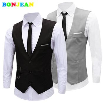 BONJEAN 2017 New Dress Vests For Men Slim Fit Mens Suit Vest Male Waistcoat Gilet Homme Casual Sleeveless Formal Business Jacket