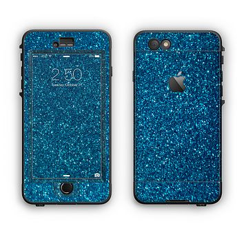 The Blue Sparkly Glitter Ultra Metallic Apple iPhone 6 Plus LifeProof Nuud Case Skin Set