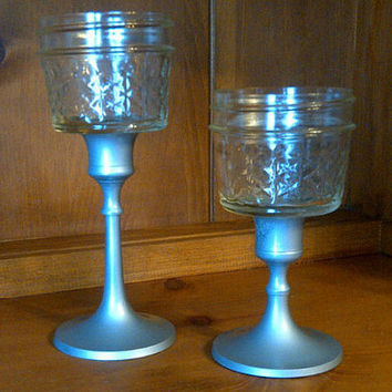 set of two mason jar candlestick holders in pewter