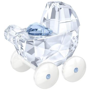 Swarovski Crystal Figurine Baby Boy Pram Carriage, Blue -5136921