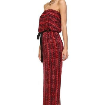 Printed Strapless Nursing Maxi Dress