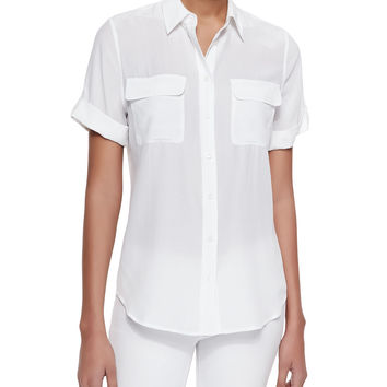 Slim Signature Silk Blouse, Bright White, Size: