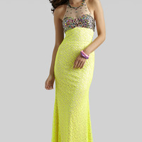 Clarisse 2014 Neon Yellow Mesh Novelty Fabric Beaded Halter Long Prom Dress 2336 | Promgirl.net