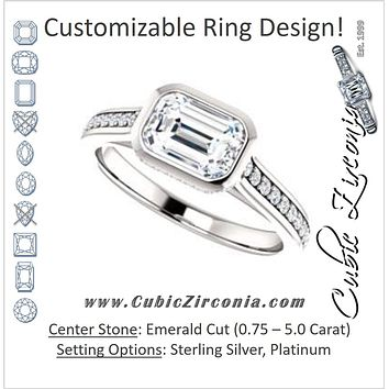 Cubic Zirconia Engagement Ring- The Jada (Customizable Cathedral-Bezel Emerald Cut Design with Underhalo and Pavé Band)