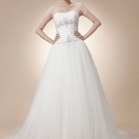 Buy Mild Ball Gown White Tulle Wedding Dress under 300-SinoAnt.com