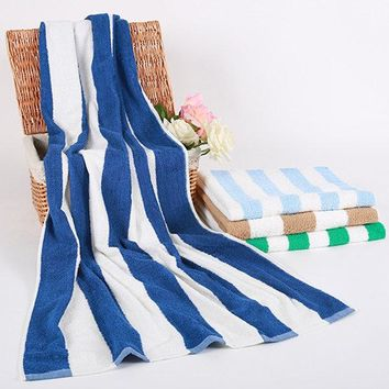 Rectangle Thicken Highly Absorbent Bath Towel Stripe Cotton Beach Yoga Towel