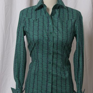 Women's Blue Green Bar Print Western Shirt