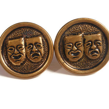Antique Edwardian bean back embossed theatre mask cufflinks