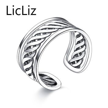LicLiz Punk Antique 925 Sterling Silver Open Adjustable Rings Chic New Year's Gift Jewelry For Women Thick Wedding Band LR0281