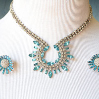 1960s Necklace Earrings Set Aqua and Clear Rhinestones Round and Baguette Cut Atomic Style