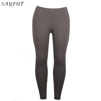 SAYFUT Cotton Spandex Gray Ultra Soft Basic Leggings for Women High Waist Tummy Compression Control Slim Leggings Casual Thights