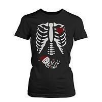 Christmas Pregnant Skeleton Santa Baby X-Ray T-shirt Maternity Themed