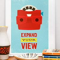 Retro Poster Print midcentury art Viewmaster Expand by handz
