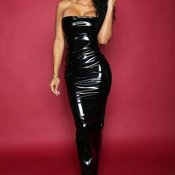 Wet Look Faux Leather Black Strapless Maxi Dress