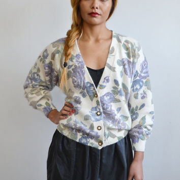 90s FLORAL knit ivory white angora cardigan sweater // preppy chic DITSY grunge revival rose printed button up slouchy sweater top