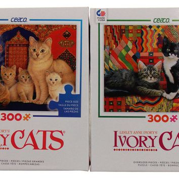 Ceaco Ivory Cats Jigsaw Puzzles Set 2 300 Pieces 24x18 Made USA Lesley Anne