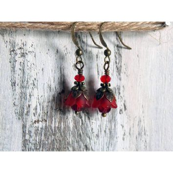 Tiny Red Tulip Flower Dangle Earrings