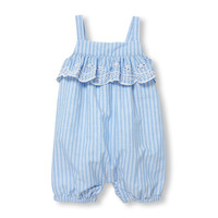 Baby Girls Sleeveless Eyelet Ruffle Striped Romper | The Children's Place