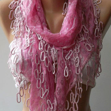 Pink Lace and Elegance Shawl / Scarf - with Lace Edge-
