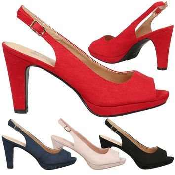 Kristen Ladies Mid High Heels Peep Toe Fashion Sandals Womens Pumps Shoes Style