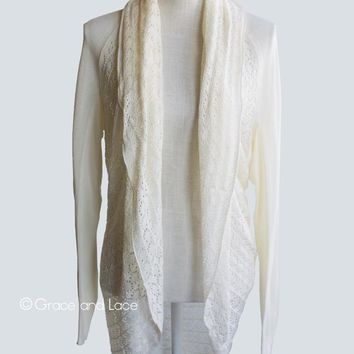 Grace & Lace Open Knit Light Weight Two Fit Knit Cardigan (Off White)