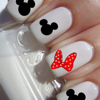 Mickey Mouse and Minnie Mouse Bow Nail Decals (1 sheet of 12 decals)