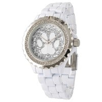 faux silver glitter and white pet paw print wristwatches