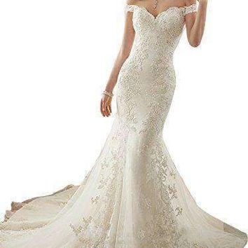 Lily Wedding Womens Lace Mermaid Wedding Dress For Bride 2018 Off Shoulder Bridal Gowns FWD002 Ivory Size 10