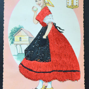 Spanish Beauty Postcard, Silk Applied Postcard, Spanish Senorita Card, Fashion Beauty Postcard, Silk Dress Postcard, Artist Elsie Gumier