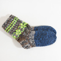 Hand Knitted Wool Socks - Blue, Brown, Gray, Size Medium