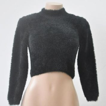 Cropped Women Sweaters And Pullovers Solid Turtleneck Sweaters Long Sleeve Warm Slim Pullovers Chompas Mujer#A11