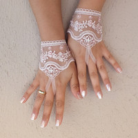 Pink Wedding gloves free ship bridal gloves fingerless lace gloves beaded pearl and rhinestone